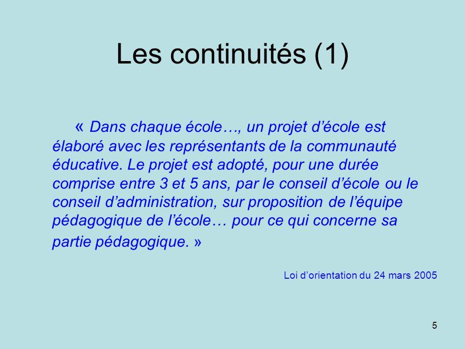 4 une nouvelle loi dorientation le 24 mars 2005 des continuités… … et des évolutions Le cadre institutionnel