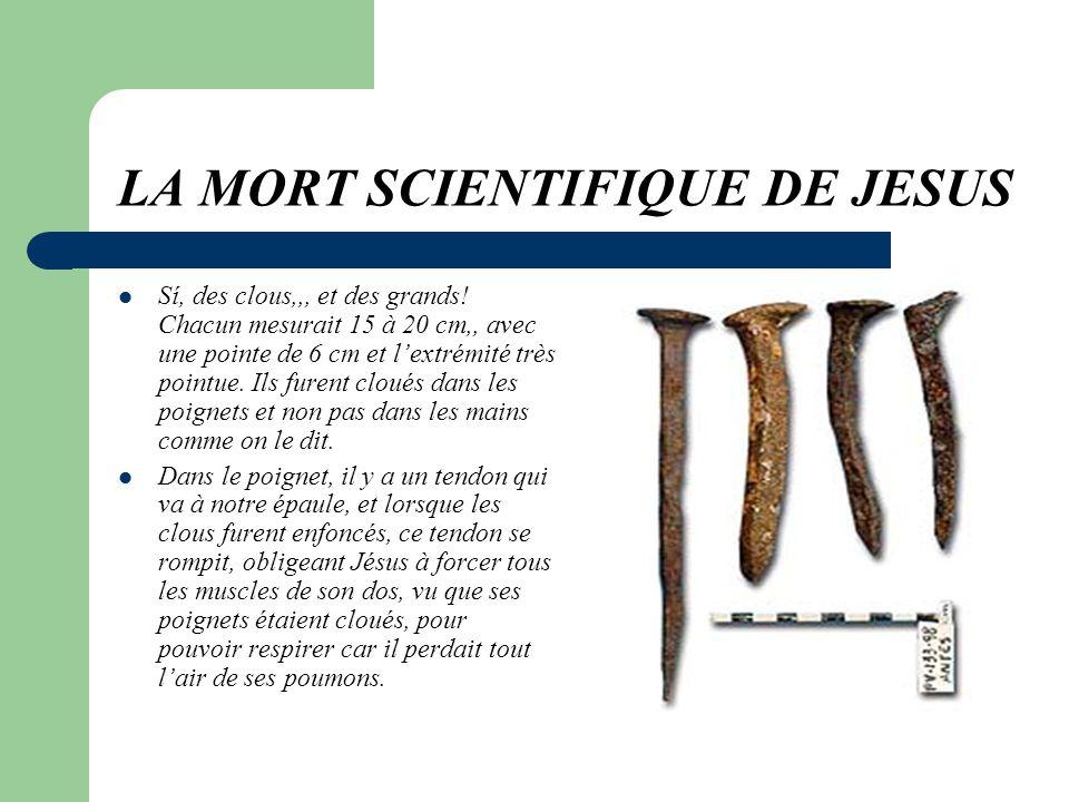 LA MORT SCIENTIFIQUE DE JESUS A 33 ans, Jésus fut condamné à mort.. La pire des morts à lépoque. Seuls les pires criminels mouraient comme Jésus. Et p