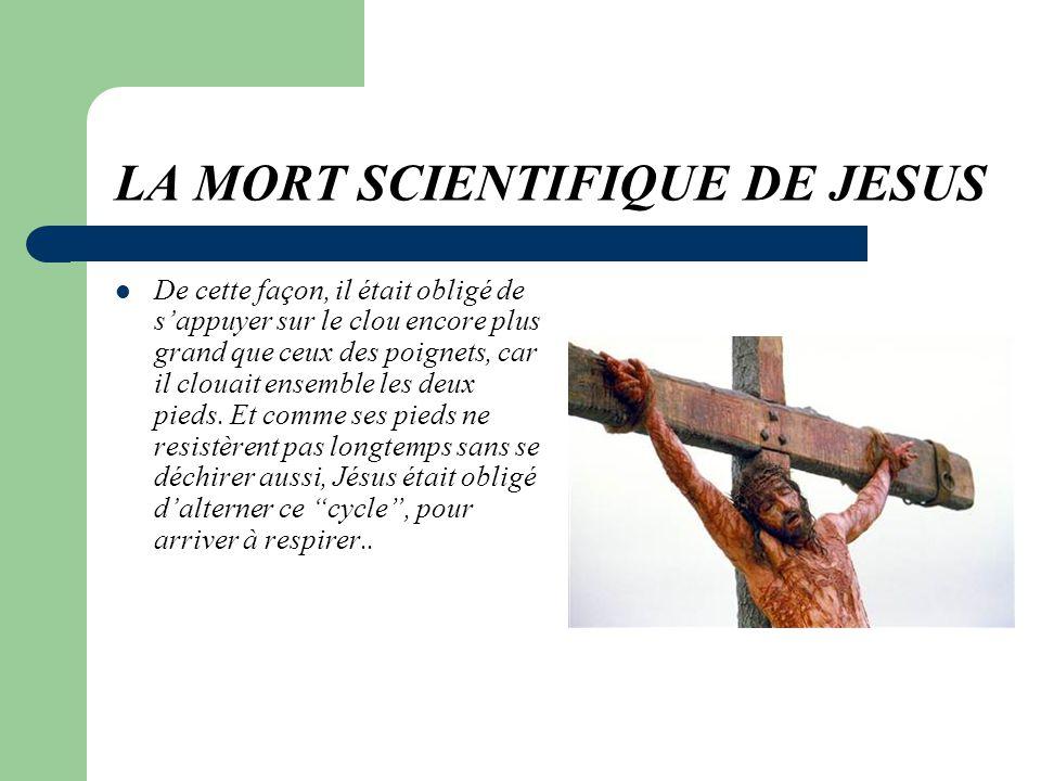 LA MORT SCIENTIFIQUE DE JESUS Sí, des clous,,, et des grands! Chacun mesurait 15 à 20 cm,, avec une pointe de 6 cm et lextrémité très pointue. Ils fur