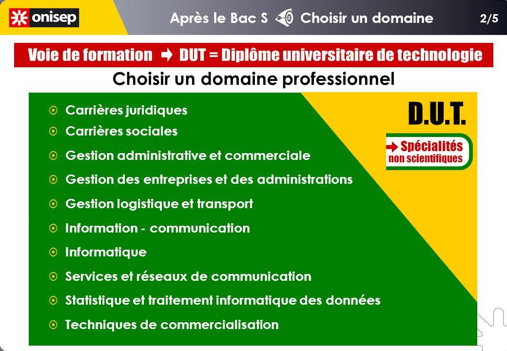 Choisir un domaine professionnel Carrières juridiques Carrières sociales Gestion administrative et commerciale Gestion des entreprises et des administ