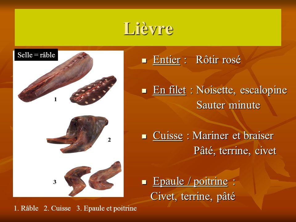 Lièvre Entier : Rôtir rosé Entier : Rôtir rosé En filet : Noisette, escalopine En filet : Noisette, escalopine Sauter minute Sauter minute Cuisse : Ma