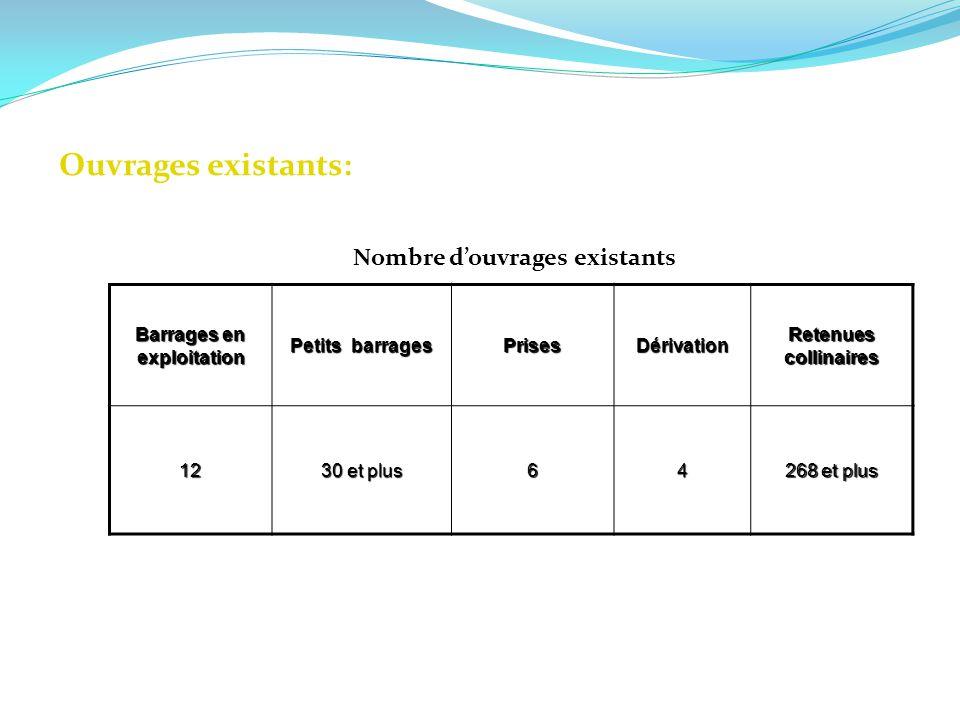 Ouvrages existants: Nombre douvrages existants Barrages en exploitation Petits barrages PrisesDérivation Retenues collinaires 12 30 et plus 64 268 et
