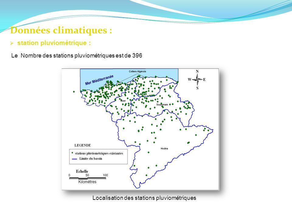 Données climatiques : Localisation des stations pluviométriques station pluviométrique : Le Nombre des stations pluviométriques est de 396