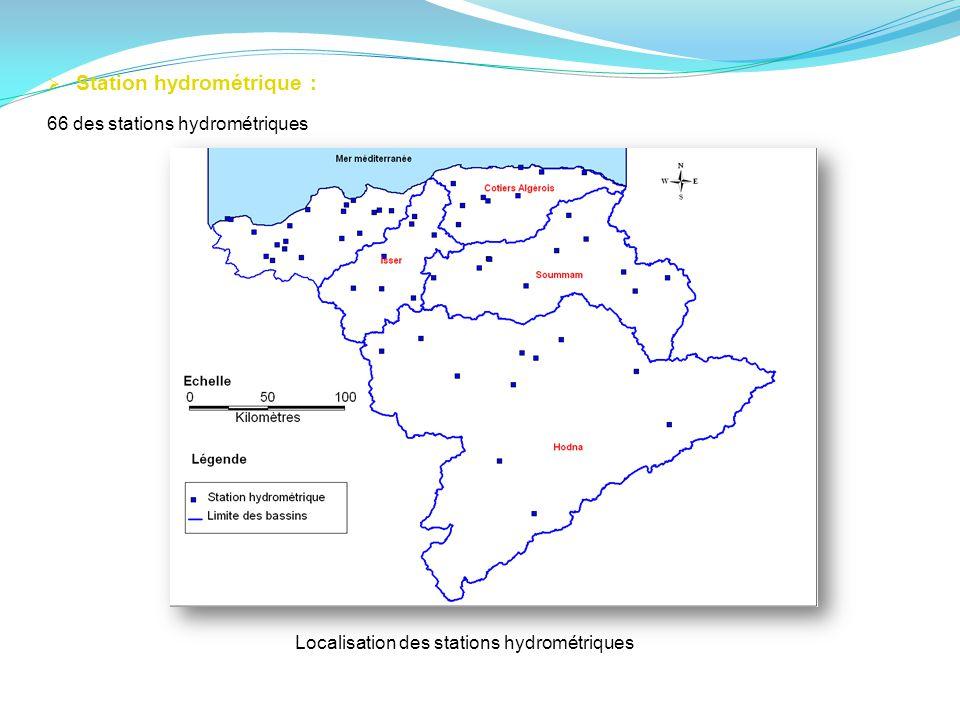 Localisation des stations hydrométriques Station hydrométrique : 66 des stations hydrométriques