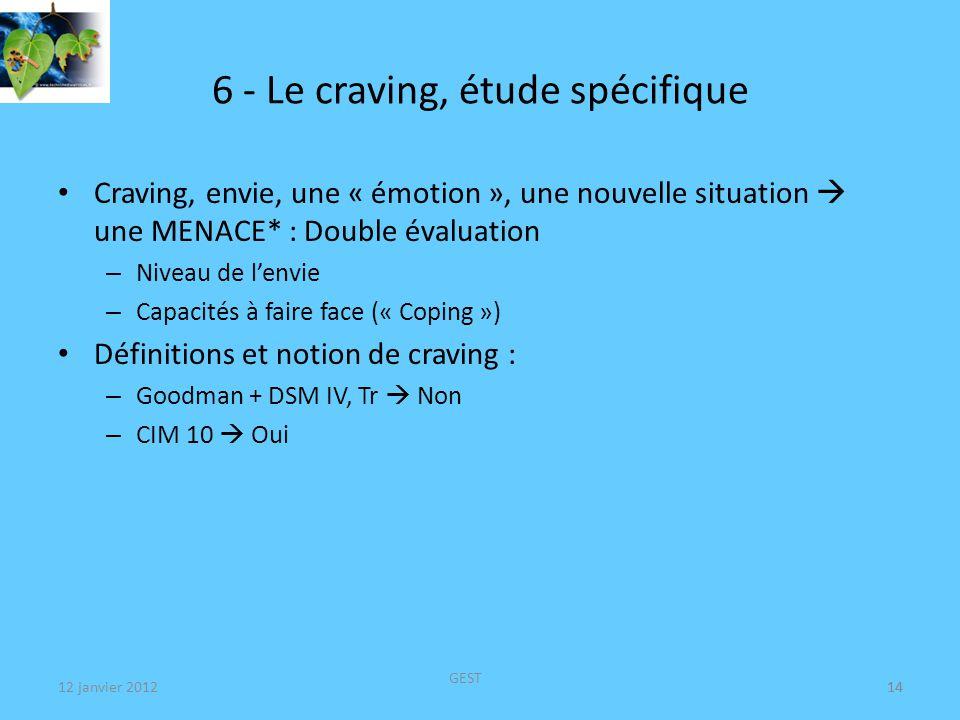 12 janvier 2012 GEST 14 6 - Le craving, étude spécifique Craving, envie, une « émotion », une nouvelle situation une MENACE* : Double évaluation – Niveau de lenvie – Capacités à faire face (« Coping ») Définitions et notion de craving : – Goodman + DSM IV, Tr Non – CIM 10 Oui 14