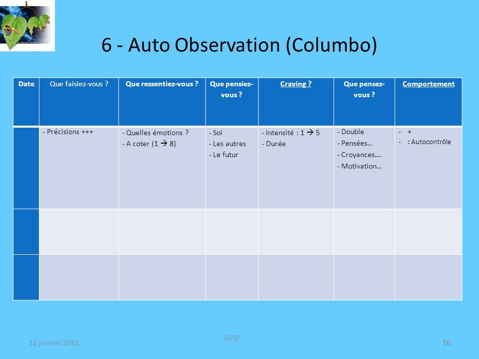 6 - Auto Observation (Columbo) DateQue faisiez-vous ?Que ressentiez-vous ?Envie ?Comportement - Précisions +++ - Quelles émotions .