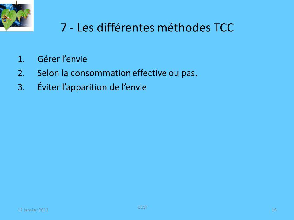 12 janvier 2012 GEST 20 7 - Les différentes méthodes TCC 1 - Gérer lenvie : (REVIA*, AOTAL*, CHAMPIX* ???) – Urge surfing = Mindfulness .