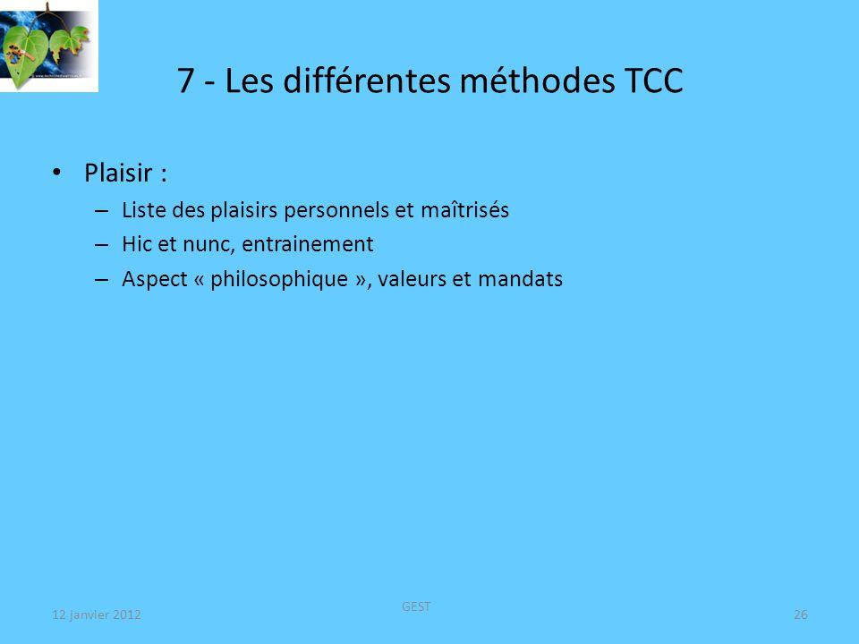 7 - Les différentes méthodes TCC Convivialité – Différent du craving par stimulations visuelle, olfactive (S R) – Comment gérer le plaisir à être ensemble sans fumer .