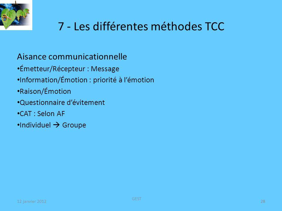 12 janvier 2012 GEST 28 7 - Les différentes méthodes TCC Aisance communicationnelle Émetteur/Récepteur : Message Information/Émotion : priorité à lémotion Raison/Émotion Questionnaire dévitement CAT : Selon AF Individuel Groupe 28