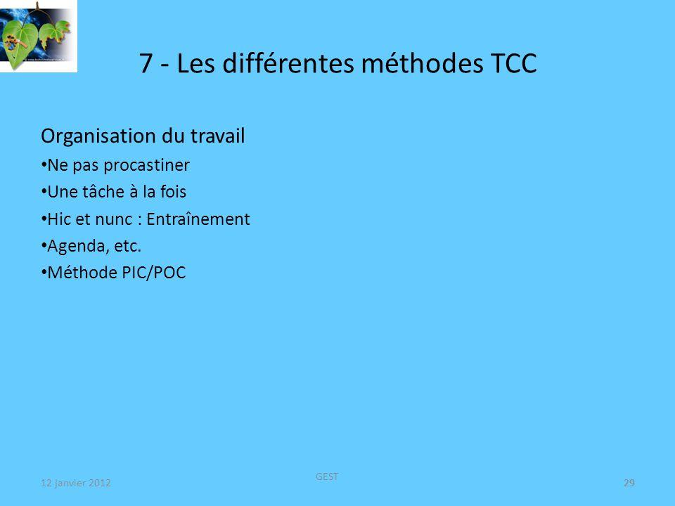 12 janvier 2012 GEST 30 7 - Les différentes méthodes TCC Prise de décisions Préciser les différentes décisions (2 ou 3) Tableau des Avantages et des Inconvénients