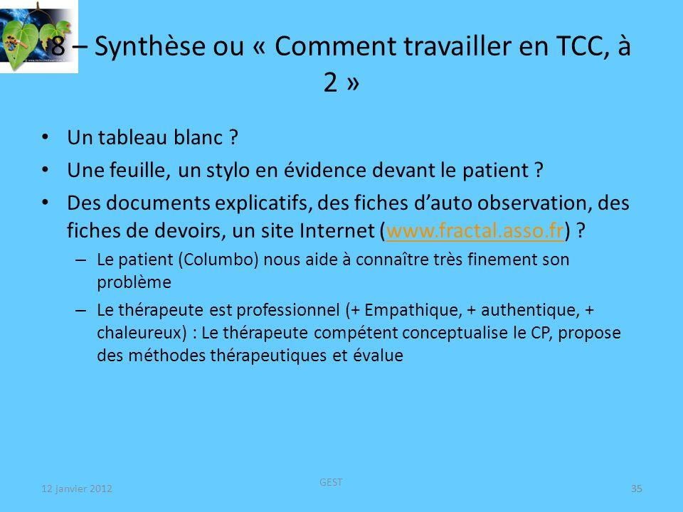 12 janvier 2012 GEST 35 8 – Synthèse ou « Comment travailler en TCC, à 2 » Un tableau blanc .