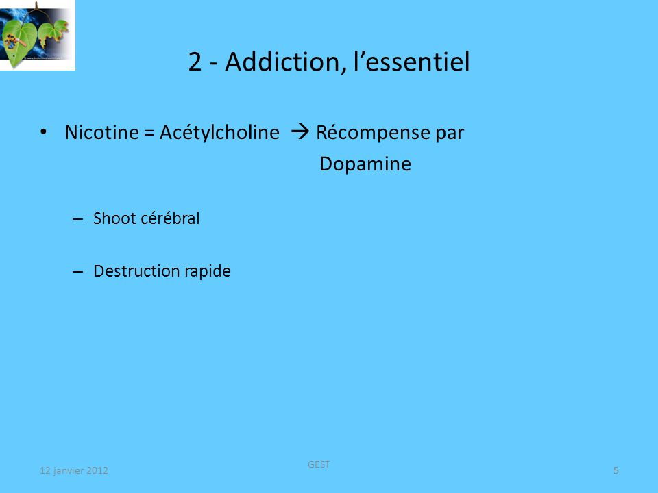12 janvier 2012 GEST 5 2 - Addiction, lessentiel Nicotine = Acétylcholine Récompense par Dopamine – Shoot cérébral – Destruction rapide 5