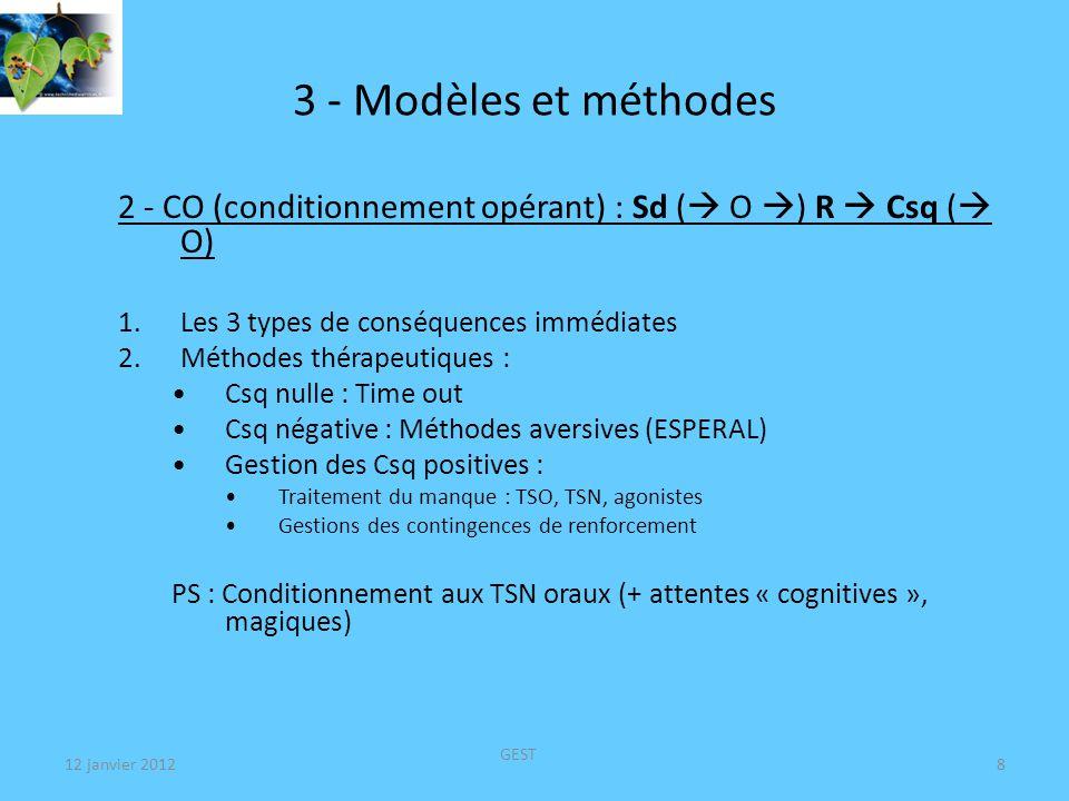 12 janvier 2012 GEST 8 3 - Modèles et méthodes 2 - CO (conditionnement opérant) : Sd ( O ) R Csq ( O) 1.Les 3 types de conséquences immédiates 2.Méthodes thérapeutiques : Csq nulle : Time out Csq négative : Méthodes aversives (ESPERAL) Gestion des Csq positives : Traitement du manque : TSO, TSN, agonistes Gestions des contingences de renforcement PS : Conditionnement aux TSN oraux (+ attentes « cognitives », magiques)