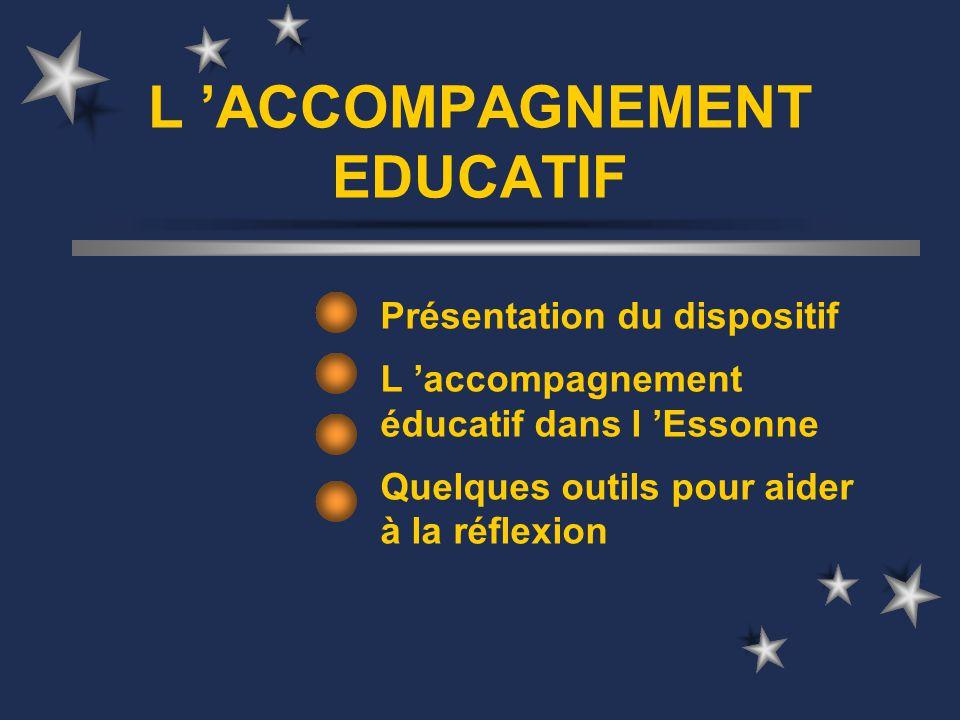 L ACCOMPAGNEMENT EDUCATIF Présentation du dispositif L accompagnement éducatif dans l Essonne Quelques outils pour aider à la réflexion