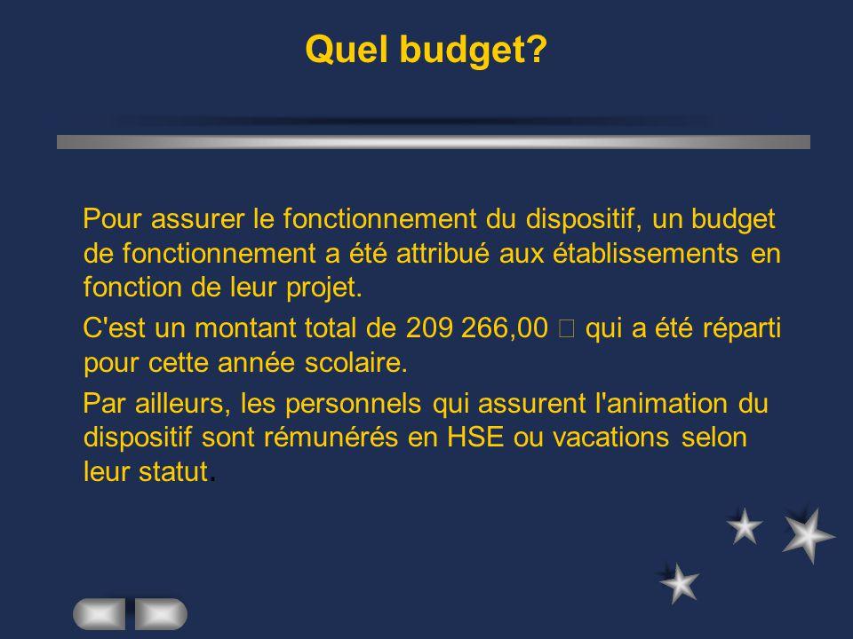 Quel budget? Pour assurer le fonctionnement du dispositif, un budget de fonctionnement a été attribué aux établissements en fonction de leur projet. C
