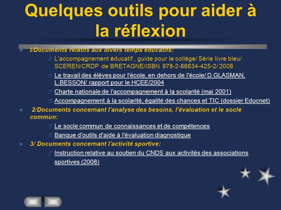 Quelques outils pour aider à la réflexion I/Documents relatifs aux divers temps éducatifs: L'accompagnement éducatif, guide pour le collège/ Série liv