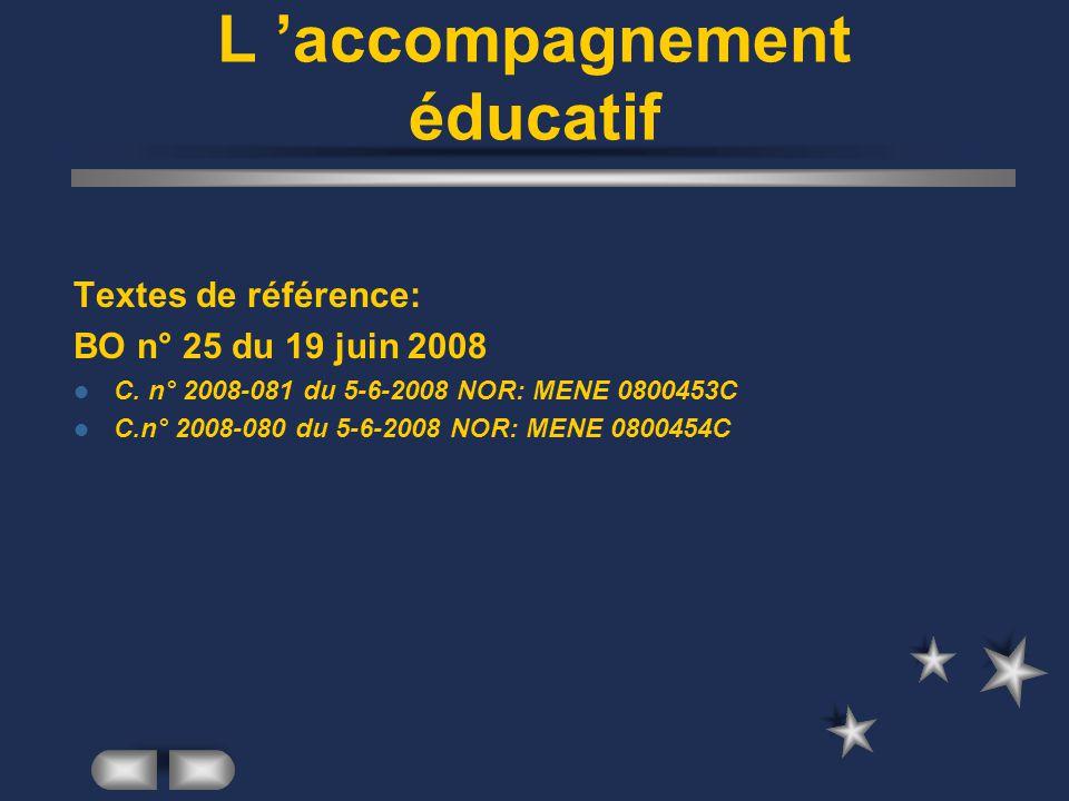 L accompagnement éducatif Textes de référence: BO n° 25 du 19 juin 2008 C. n° 2008-081 du 5-6-2008 NOR: MENE 0800453C C.n° 2008-080 du 5-6-2008 NOR: M