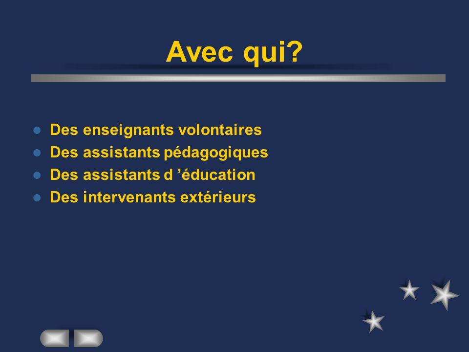 Avec qui? Des enseignants volontaires Des assistants pédagogiques Des assistants d éducation Des intervenants extérieurs