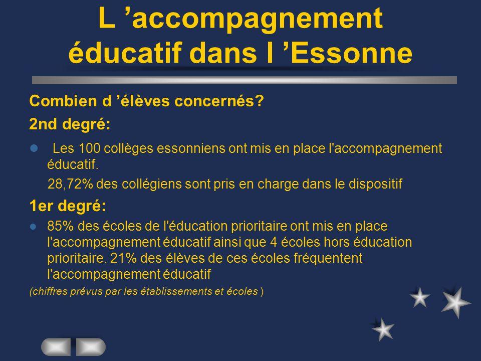 L accompagnement éducatif dans l Essonne Combien d élèves concernés? 2nd degré: Les 100 collèges essonniens ont mis en place l'accompagnement éducatif