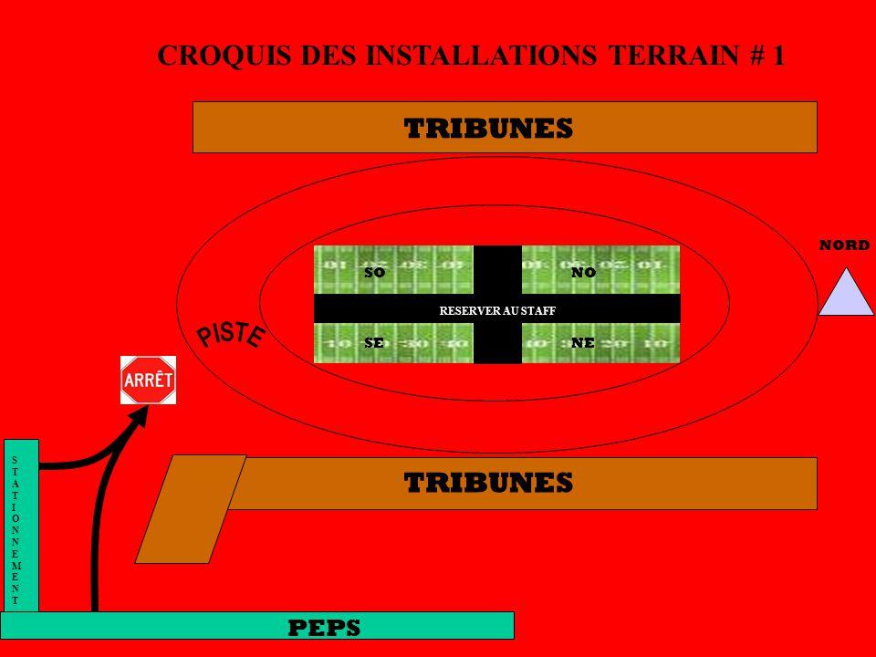 TRIBUNES CROQUIS DES INSTALLATIONS TERRAIN # 1 STATIONNEMENTSTATIONNEMENT NORD PEPS NO NE SO SE RESERVER AU STAFF