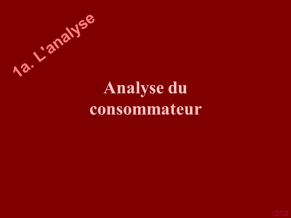 Analyse du consommateur 1a. L'analyse
