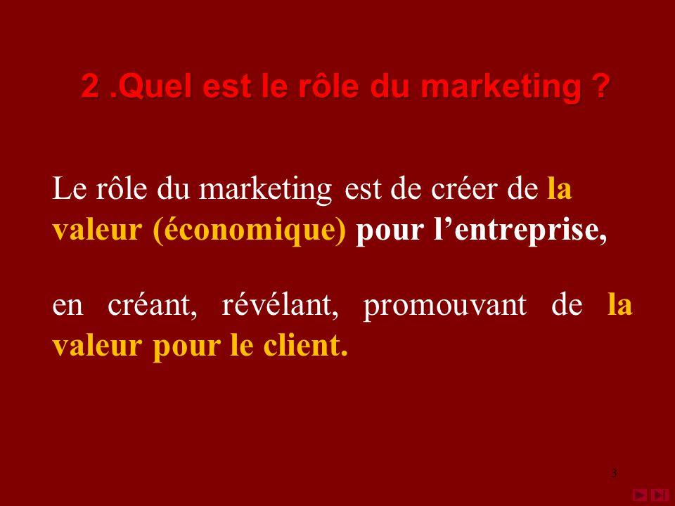 Le rôle du marketing est de créer de la valeur (économique) pour lentreprise, en créant, révélant, promouvant de la valeur pour le client.