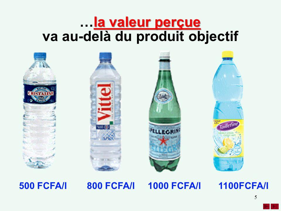 5 800 FCFA/l1000 FCFA/l500 FCFA/l 1100FCFA/l la valeur perçue …la valeur perçue va au-delà du produit objectif