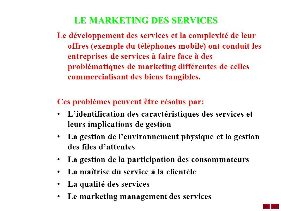LE MARKETING DES SERVICES Le développement des services et la complexité de leur offres (exemple du téléphones mobile) ont conduit les entreprises de services à faire face à des problématiques de marketing différentes de celles commercialisant des biens tangibles.