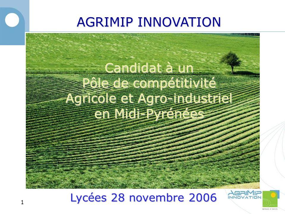 AGRIMIP INNOVATION Candidat à un Pôle de compétitivité Agricole et Agro-industriel en Midi-Pyrénées 1 Lycées 28 novembre 2006