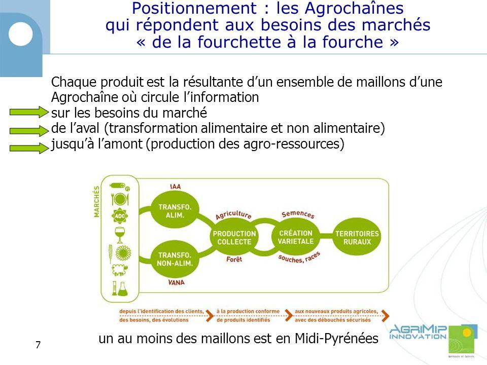 Positionnement : les Agrochaînes qui répondent aux besoins des marchés « de la fourchette à la fourche » Chaque produit est la résultante dun ensemble de maillons dune Agrochaîne où circule linformation sur les besoins du marché de laval (transformation alimentaire et non alimentaire) jusquà lamont (production des agro-ressources) un au moins des maillons est en Midi-Pyrénées 7
