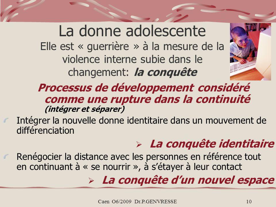 Caen O6/2009 Dr.P.GENVRESSE10 La donne adolescente Elle est « guerrière » à la mesure de la violence interne subie dans le changement: la conquête Pro