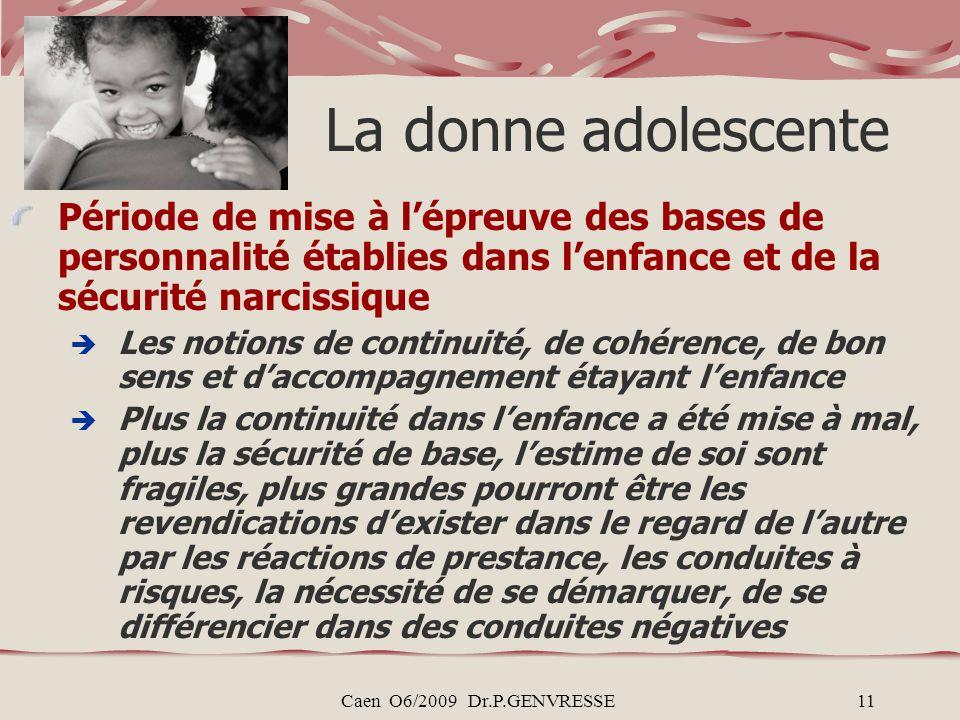 Caen O6/2009 Dr.P.GENVRESSE11 La donne adolescente Période de mise à lépreuve des bases de personnalité établies dans lenfance et de la sécurité narci