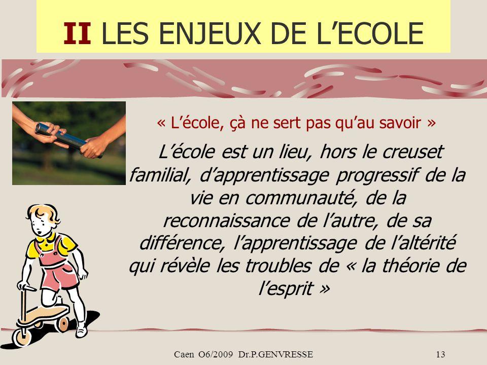 Caen O6/2009 Dr.P.GENVRESSE13 II LES ENJEUX DE LECOLE « Lécole, çà ne sert pas quau savoir » Lécole est un lieu, hors le creuset familial, dapprentiss