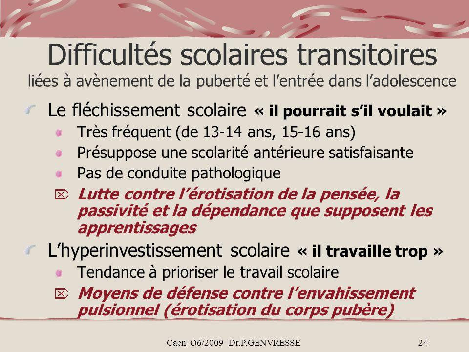 Caen O6/2009 Dr.P.GENVRESSE24 Difficultés scolaires transitoires liées à avènement de la puberté et lentrée dans ladolescence Le fléchissement scolair