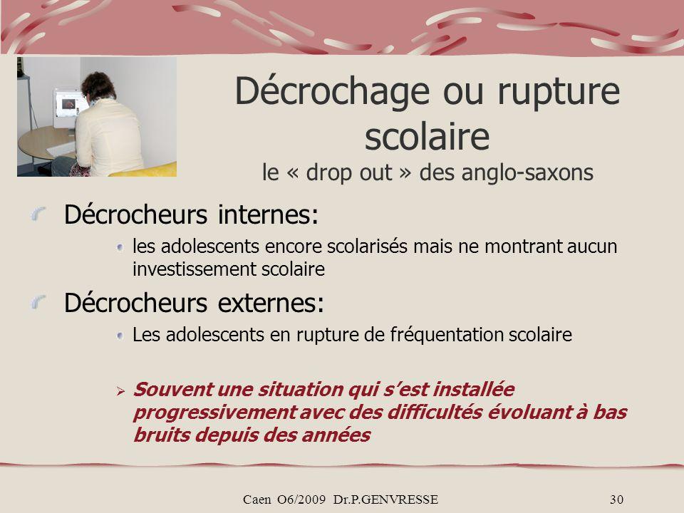Caen O6/2009 Dr.P.GENVRESSE30 Décrochage ou rupture scolaire le « drop out » des anglo-saxons Décrocheurs internes: les adolescents encore scolarisés