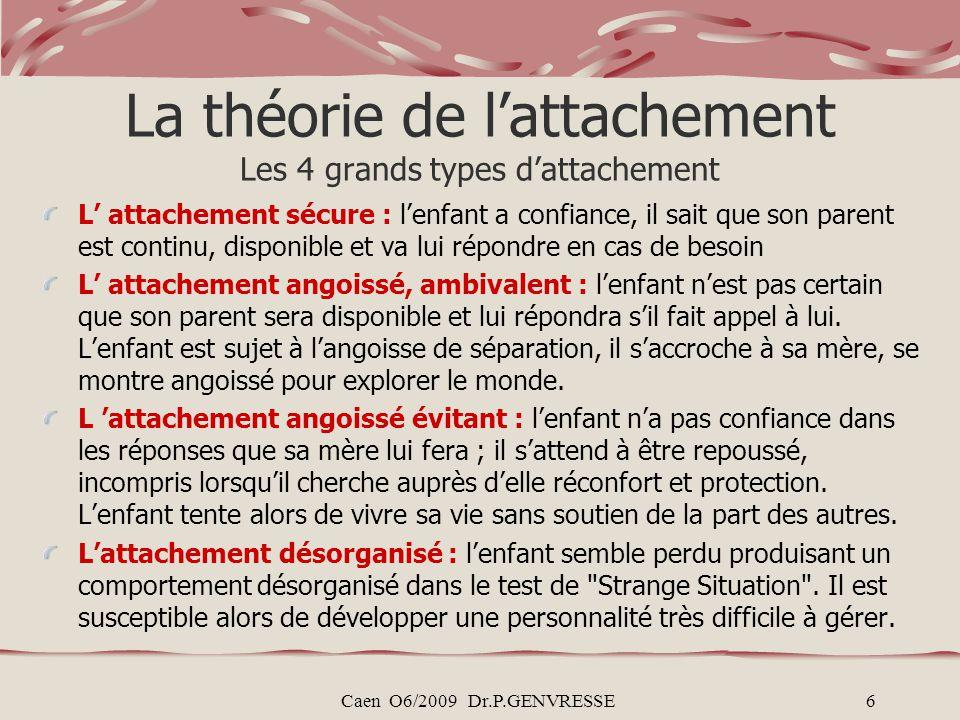 Caen O6/2009 Dr.P.GENVRESSE6 La théorie de lattachement Les 4 grands types dattachement L attachement sécure : lenfant a confiance, il sait que son pa