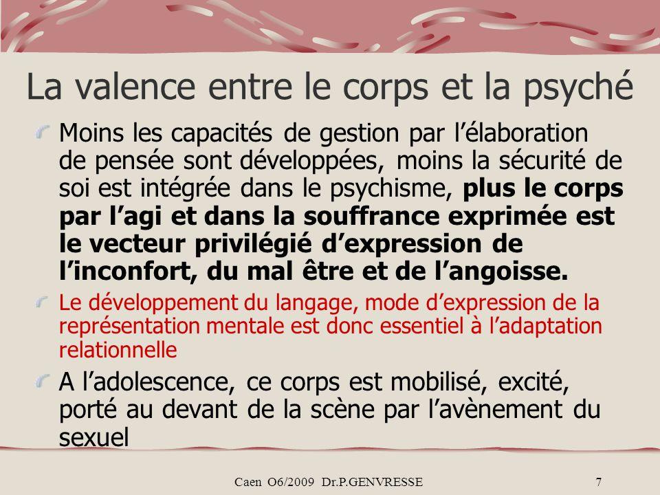 Caen O6/2009 Dr.P.GENVRESSE7 La valence entre le corps et la psyché Moins les capacités de gestion par lélaboration de pensée sont développées, moins la sécurité de soi est intégrée dans le psychisme, plus le corps par lagi et dans la souffrance exprimée est le vecteur privilégié dexpression de linconfort, du mal être et de langoisse.