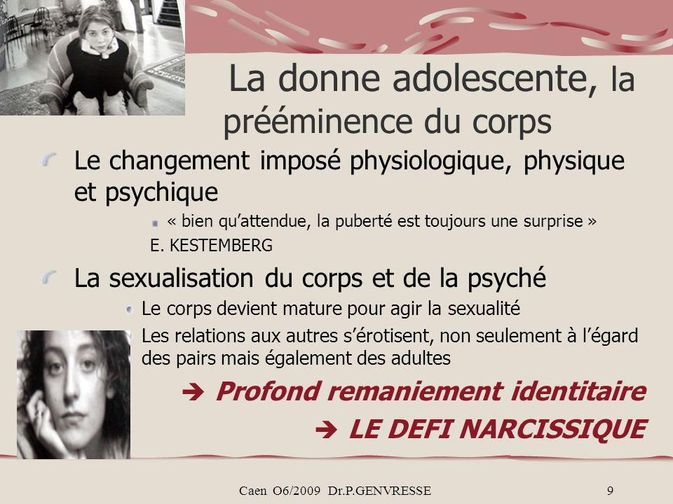 Caen O6/2009 Dr.P.GENVRESSE9 La donne adolescente, la prééminence du corps Le changement imposé physiologique, physique et psychique « bien quattendue, la puberté est toujours une surprise » E.