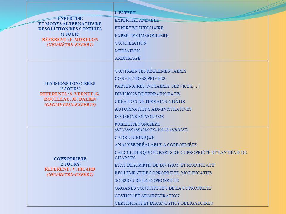 EXPERTISE ET MODES ALTERNATIFS DE RESOLUTION DES CONFLITS (1 JOUR) RÉFÉRENT : F.
