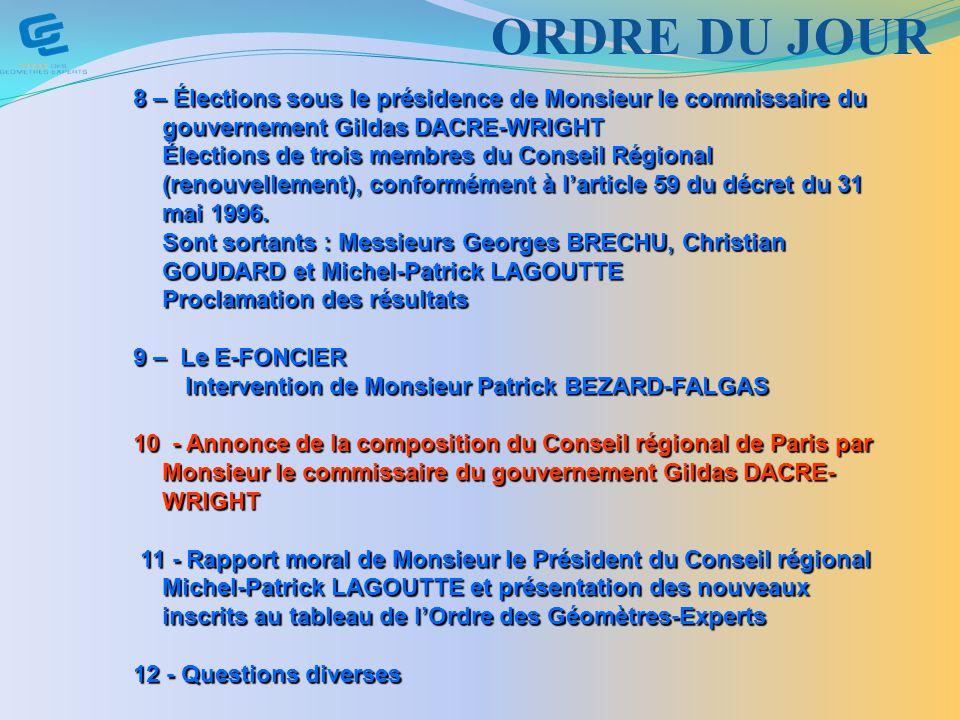 8 – Élections sous le présidence de Monsieur le commissaire du gouvernement Gildas DACRE-WRIGHT Élections de trois membres du Conseil Régional (renouvellement), conformément à larticle 59 du décret du 31 mai 1996.