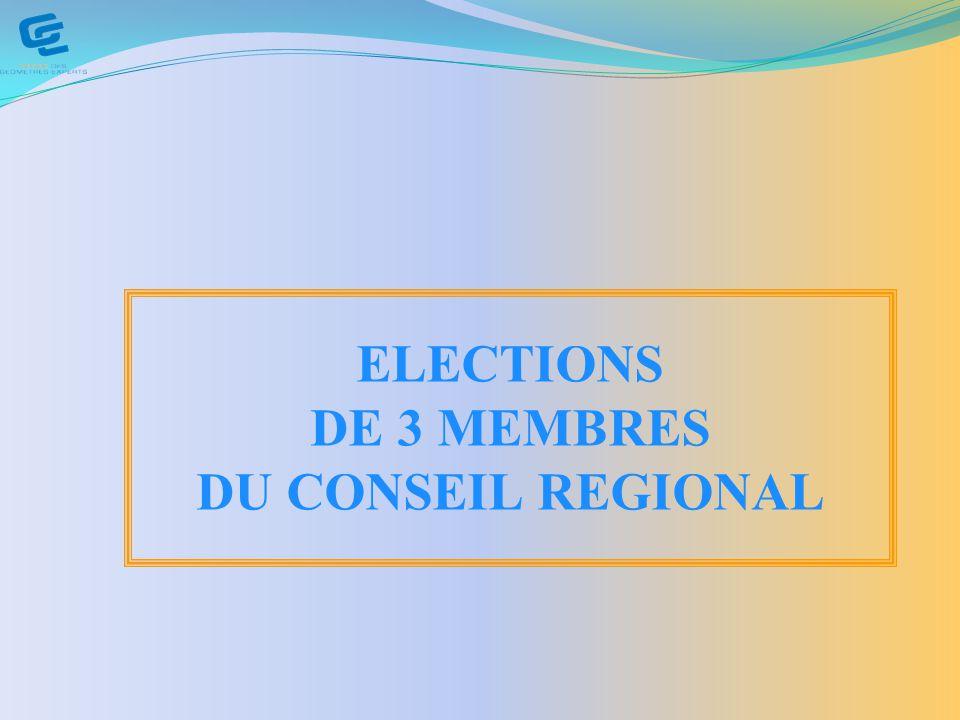 ELECTIONS DE 3 MEMBRES DU CONSEIL REGIONAL