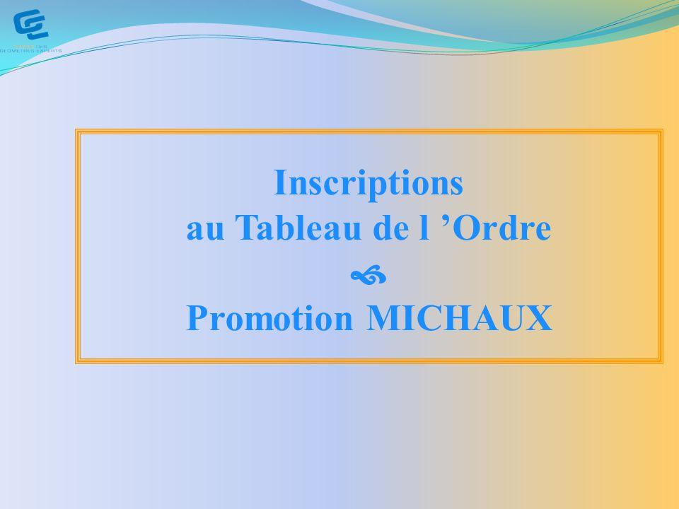 Inscriptions au Tableau de l Ordre Promotion MICHAUX