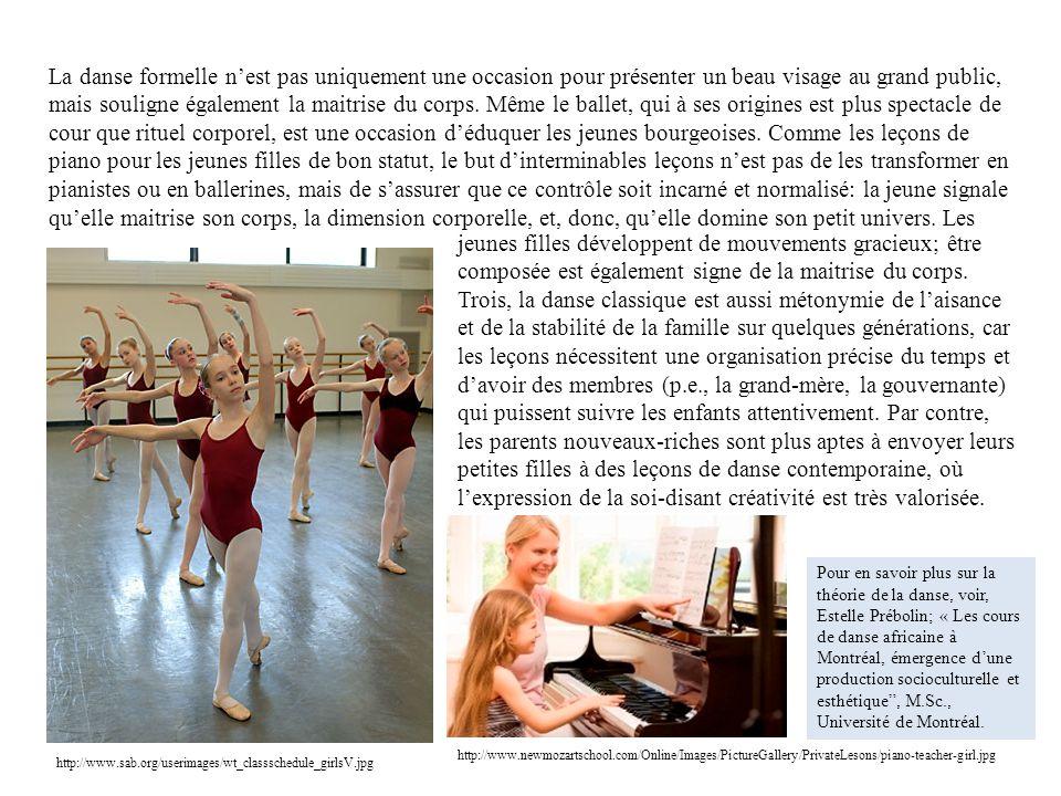 La danse formelle nest pas uniquement une occasion pour présenter un beau visage au grand public, mais souligne également la maitrise du corps. Même l