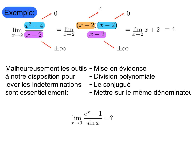 Exemple: Malheureusement les outils à notre disposition pour lever les indéterminations sont essentiellement: Mise en évidence Division polynomiale Le
