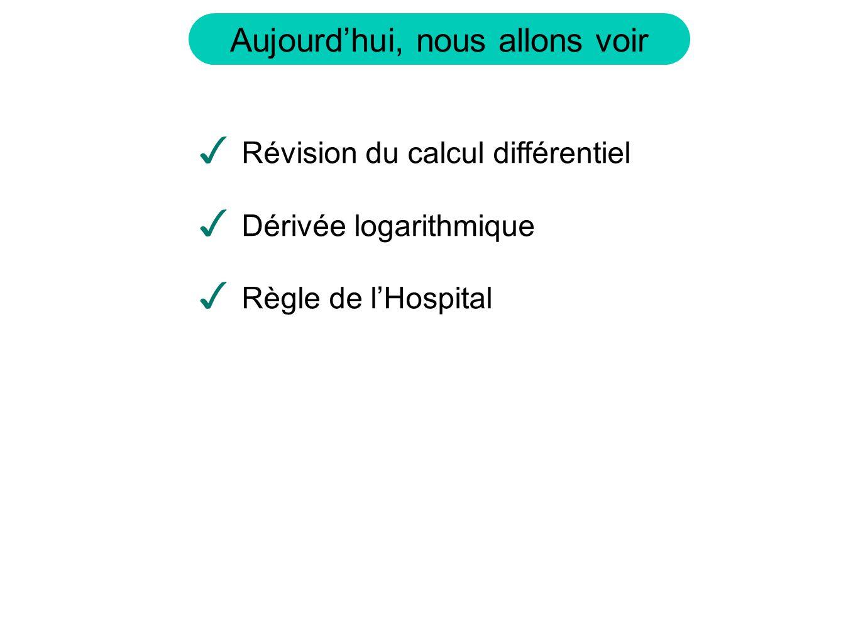 Aujourdhui, nous allons voir Révision du calcul différentiel Dérivée logarithmique Règle de lHospital