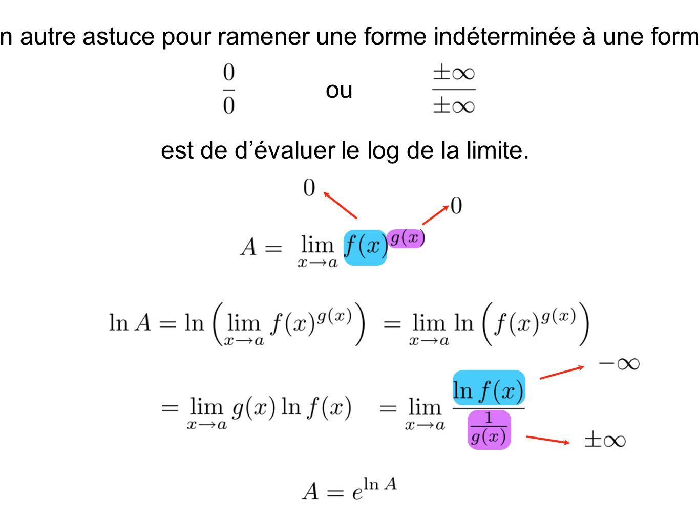 Un autre astuce pour ramener une forme indéterminée à une forme ou est de dévaluer le log de la limite.