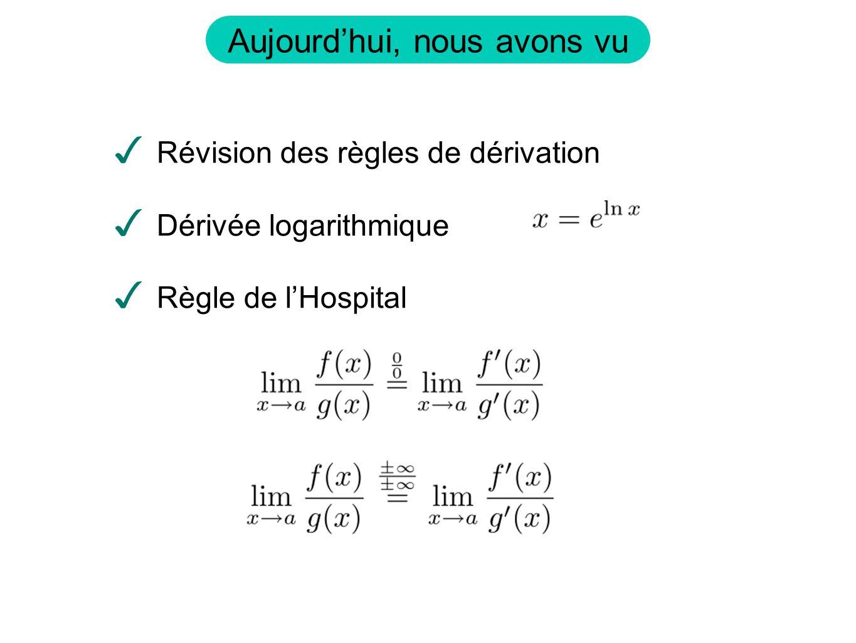 Aujourdhui, nous avons vu Révision des règles de dérivation Dérivée logarithmique Règle de lHospital