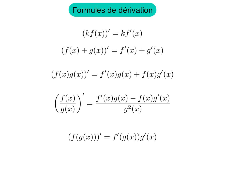 Formules de dérivation