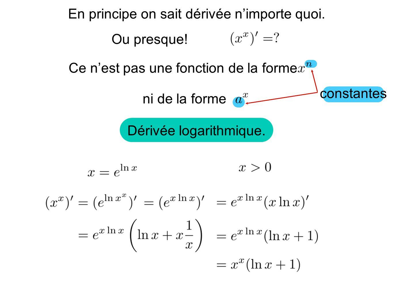 La dérivation logarithmique est un astuce permettant de dérivée des fonctions de la forme De plus, ce type de fonction napparait presque jamais dans la modélisation de problème concret.