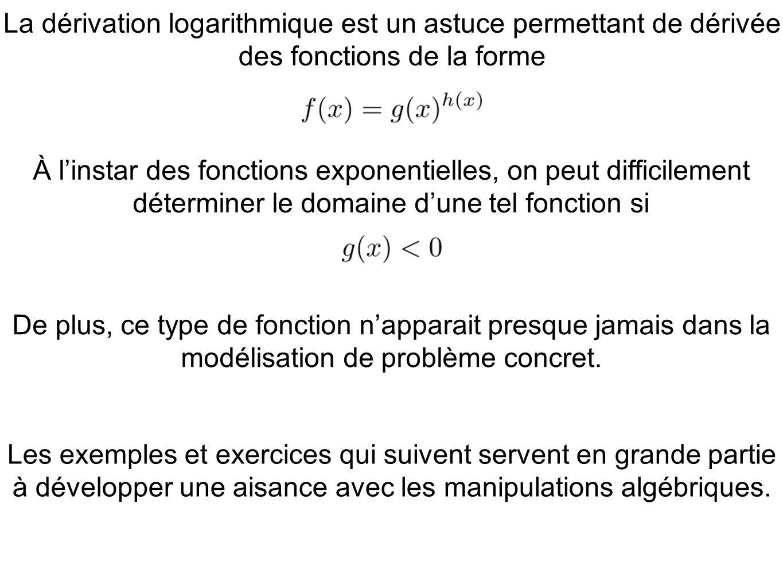 La dérivation logarithmique est un astuce permettant de dérivée des fonctions de la forme De plus, ce type de fonction napparait presque jamais dans l